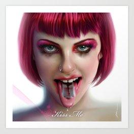 KISS ME - Pink Art Print