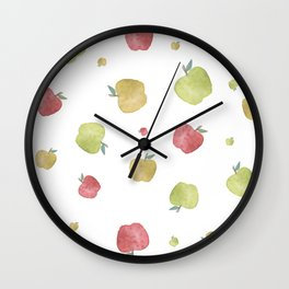 Multicolored falling down apples Wall Clock