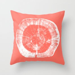 Tree Rings - Living Coral Throw Pillow