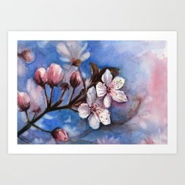 Cherry Blossoms Watercolor Spring Flowers Art Print