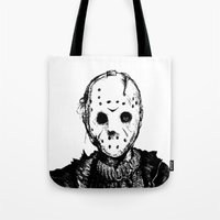 michael myers Tote Bags featuring Jason VS Michael Myers by Oscarϟ Moreno