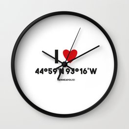 I LOVE MINNEAPOLIS Wall Clock