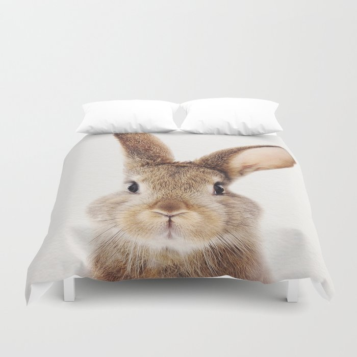 Baby Rabbit, Baby Animals Art Print By Synplus Duvet Cover