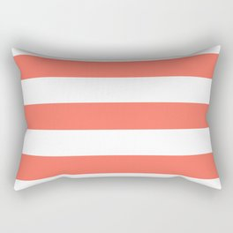 Bittersweet - solid color - white stripes pattern Rectangular Pillow