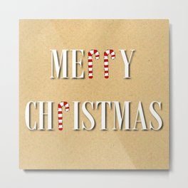 Merry Christmas Candy Cane  Metal Print