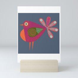 Red fantailed Folk Bird Mini Art Print