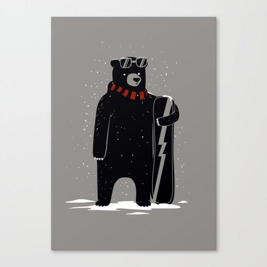 Bear on snowboard Canvas Print