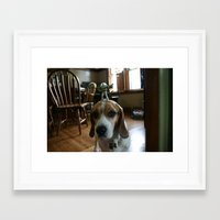 buzz lightyear Framed Art Prints featuring Bruno and Mini Buzz Lightyear by Bruno The Beagle