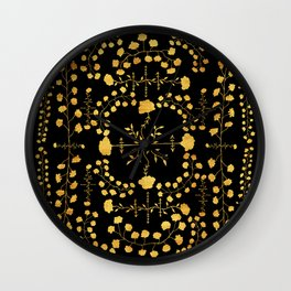 gold native floral Wall Clock
