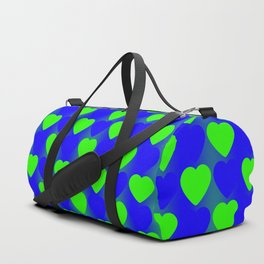 Zigzag of green hearts staggered on a blue background. Duffle Bag