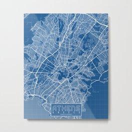 Athens City Map of Greece - Blueprint Metal Print