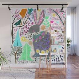 Folk Art Rabbit (white background) Wall Mural
