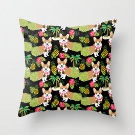 Corgi Hula Tropical Summer pineapple palm tree dog dogs pattern Throw Pillow