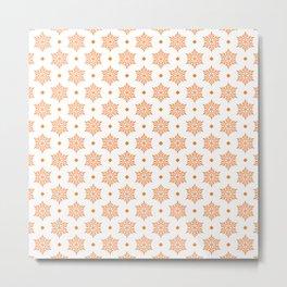 Orange Snowflakes pattern Metal Print