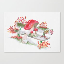 Mushrooms on a Public Bench | Surrealistic Watercolor Painting by Stephanie Kilgast Canvas Print