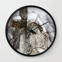religious Wall Clocks featuring Religious Statue by Legends of Darkness Photography