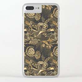 golden birds in the paisley forrest Clear iPhone Case