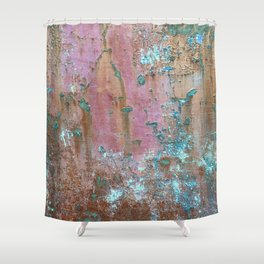 Abstract turquoise flowers on colorful rusty background Shower Curtain