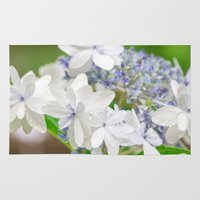 hydrangea Area & Throw Rugs featuring Hydrangea by yumehana design fine art photography