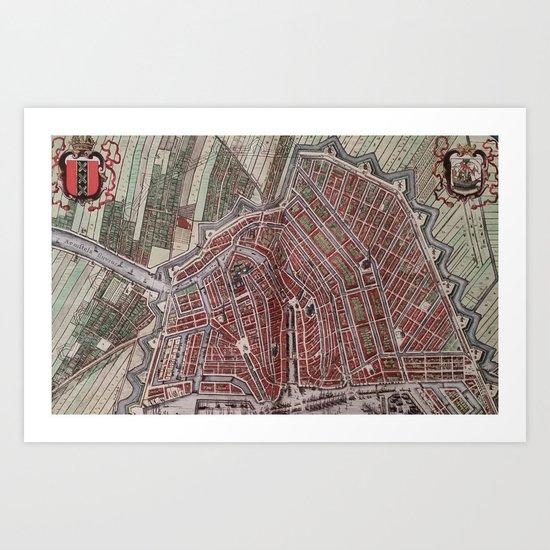Replica city map of Amsterdam 1652 Art Print