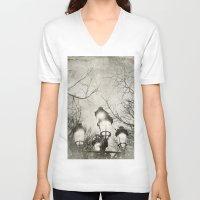 lantern V-neck T-shirts featuring Vintage Lantern by Victoria Herrera