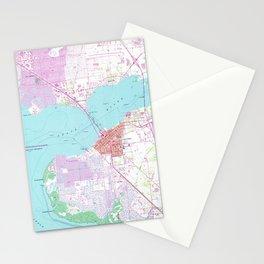 Punta Gorda & Port Charlotte Florida Map (1957) Stationery Cards
