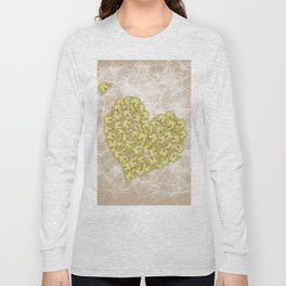 Romantic butterfly swarm on peach texture Long Sleeve T-shirt