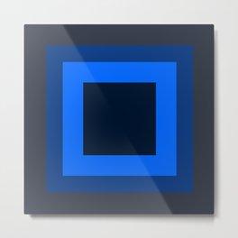 Navy Blue Square Design Metal Print