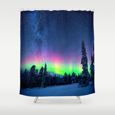 Aurora Borealis Over Wintry Mountains Shower Curtain