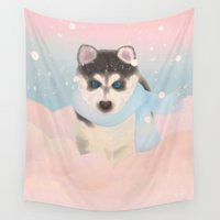 husky Wall Tapestries featuring Husky Puppy in Snow by Graphic Tabby