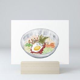 Watercolor Illustration of a Cuisine - Korean Bibimbap | 韩式拌饭 Mini Art Print