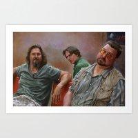the big lebowski Art Prints featuring Big Lebowski by Pavel Sokov