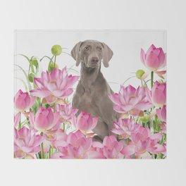 Weimaraner Lotos Flowers Throw Blanket