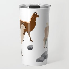 Lamas are going for a walk in Peru Travel Mug