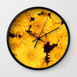 Bright Golden Holiday Mums Wall Clock
