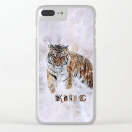 KING watercolor Siberian Tiger Clear iPhone Case