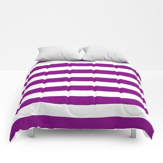 Horizontal Stripes (Purple/White) Comforters