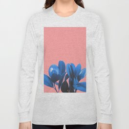 Blue Plant Pink Background Long Sleeve T-shirt