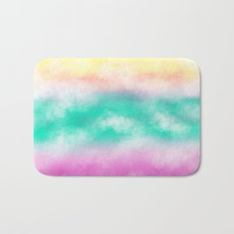 Fruity Cloudscape - grape purple, aqua green & citrus yellow skyscape Bath Mat