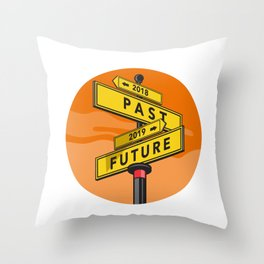 Past 2018 and Future 2019 Signpost Retro Throw Pillow