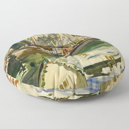 Ships in Harbor coastal nautical landscape painting by Hayley Lever Floor Pillow