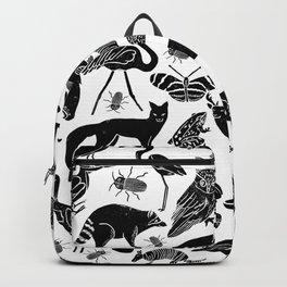 Linocut animals nature inspired printmaking black and white pattern nursery kids decor Backpack