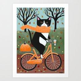 Tuxedo Cat Autumn Bicycle Ride Art Print