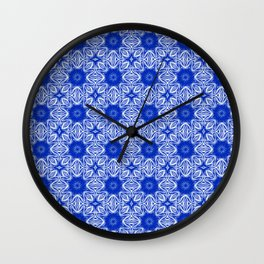 Sapphire Blue Floral Wall Clock