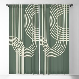Minimalist Lines in Forest Green Blackout Curtain