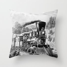 The Express Train: Currier & Ives 1870 Throw Pillow