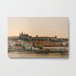 Prague Castle and Vltava river at sunset Metal Print