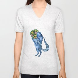 Cute funny raccoon with bouquet of flowers. Animal character. St. Valentine illustration. Unisex V-Neck