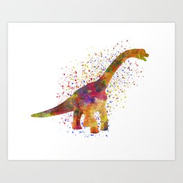Brachiosaurus dinosaur in watercolor Art Print