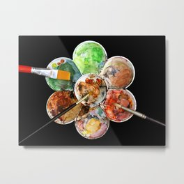 Painting Palette with Three Brushes Metal Print